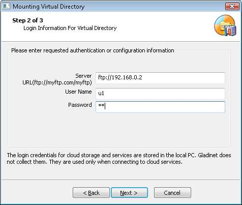 GLADINET - Map FTP Storage As a Virtual Drive